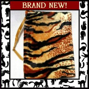 Handbags - Tiger Print Plush Velvet Pouch Bag